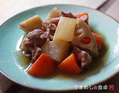 レンコンと大根とニンジンと豚肉のうま煮